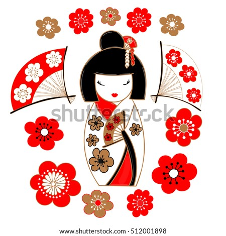 Stock Photo Cute illustration of a Japanese doll - kokeshi, clad in a white kimono, sakura flowers and fans.