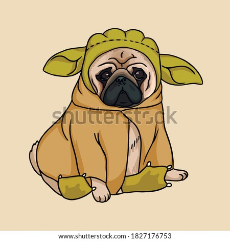 cute illustration of a pug in