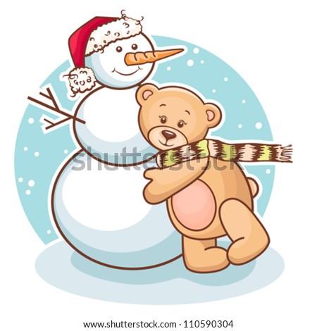 Cute Illustration Of Christmas Teddy Bear And Snowman, for xmas design. - stock vector