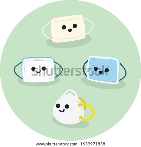 Cute Illustration of Different Type of Masks. Two-Ply Paper, Three-Ply Surgical Mask, and N95