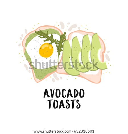cute illustration of simple avocado toasts breakfast on white background. can be used for cards and posters or other your designs ideas