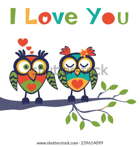Cute illustration of two owls in love sitting on a tree branch