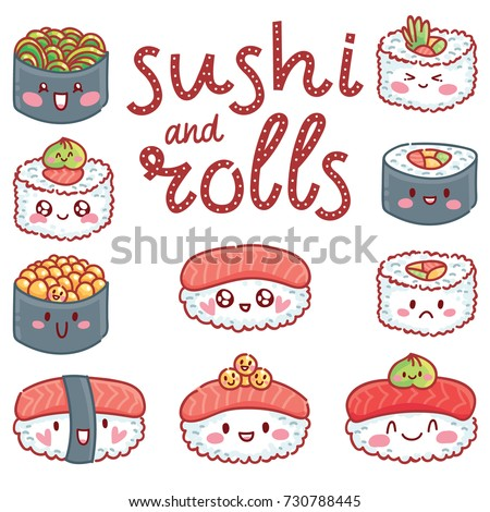 Cute illustration with lettering calligraphy text Sushi and Rolls with wasabi. Print, banner, poster design