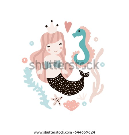 Cute illustration with mermaid and seahorse. Childish print with marine elements. Perfect for poster, card, kids apparel, bags. Vector Illustration