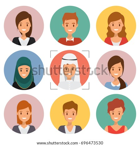 Cute illustrations of people in occupation. Illustration vector of avatar. Business character international human resource.