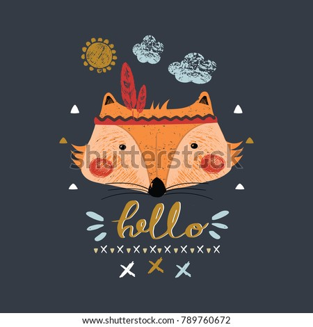 cute indian baby fox/hand drawn vector illustration/can be used for kid's or baby's shirt design/ fashion print design/ fashion graphic/ t-shirt/ kids wear/tee #789760672