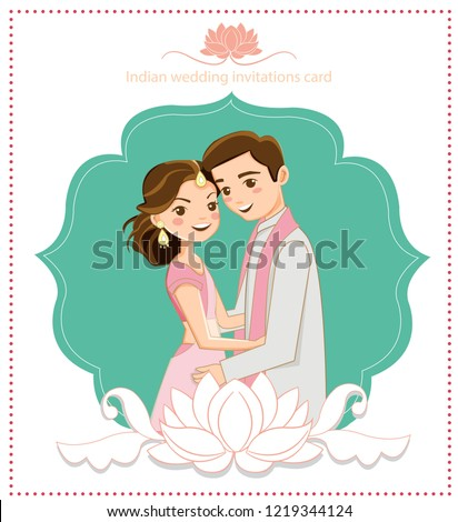 cute indian couple for wedding invitations card, vector isolated with background