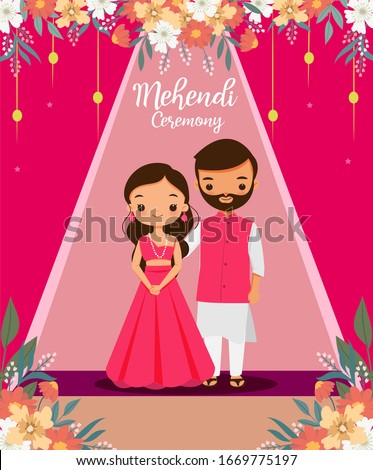 Cute Indian couple in pink traditional dress for Mehendi ceremony on their wedding day Stock photo ©