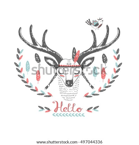 cute indian deer and bird./hand drawn vector illustration/can be used for kid's or baby's shirt design/ fashion print design/ fashion graphic/ t-shirt/ kids wear
