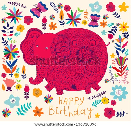 Cute indian elephant with flowers. Spring illustration. Cartoon wallpaper
