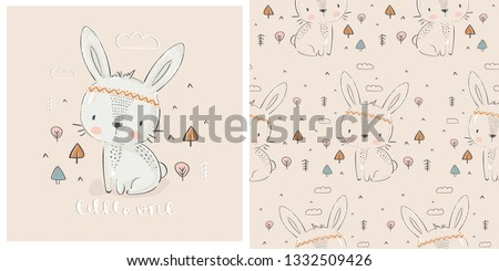 cute indian rabbit hand drawn