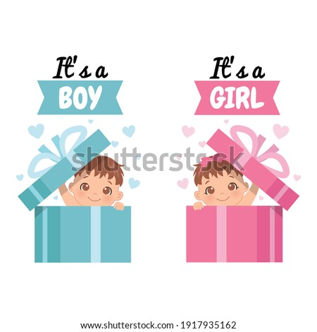 Cute infant in surprise gift box with a phrase 'It's a boy' and 'It's a girl'. Baby gender reveal. Flat vector design. Photo stock ©