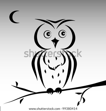 cute ink owl - stock vector
