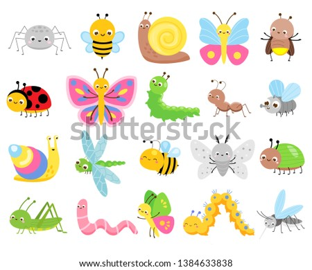 Cute insects. Big set of cartoon insects for kids and children. Butterflies, snail, spider, moth and many other funny bugs creatures