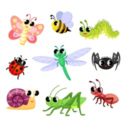 Cute insects cartoon. Butterfly, ant, ladybug, bee, spider, snail, caterpillar, dragonfly, grasshopper. Vector illustration isolated on white background