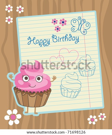 cute invitation background with cupcake. vector illustration
