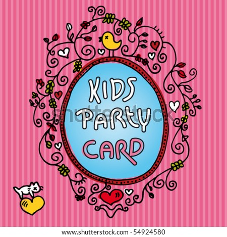 Cute Invitation Design For Kids In Vector - 54924580 :