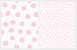 Cute Irregular Dotted Seamless Vector Patterns. Black Tiny Dots with Pink Ones Isolated on a White Background. Simple Print with Light Pink Polka Dots on a White. Lovely Pastel Color Dots Design.
