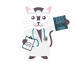 Cute Isolated Character Illustration For Kids - Doctor Cat