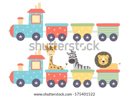 cute isolated train in two