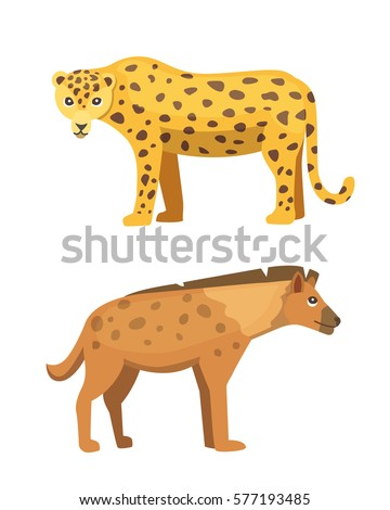 Cute jaguar and hyena stands vector illustration. African animals