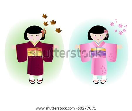 Stock Photo cute japanese girls in seasonal kimono