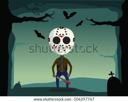 Halloween Jason Mask Cartoon.Jason Mask Free Vector Art 4 Free Downloads