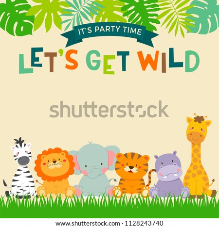 Cute jungle animals cartoon with leaf border for party invitation card template