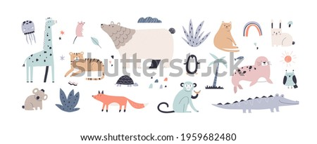 cute jungle animals in