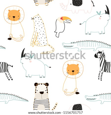 Cute jungle animals seamless pattern. Vector hand drawn illustration.