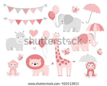 cute jungle animals set for