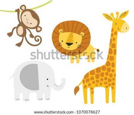 Cute jungle animals set. Vector cartoon baby lion, elephant, giraffe, monkey. Kids graphics, art, posters.