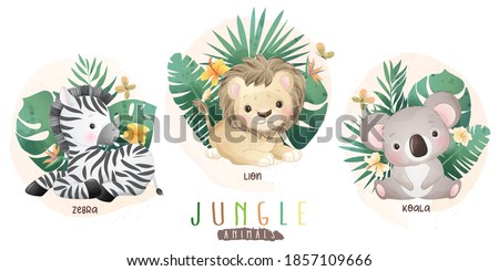 Cute jungle animals with floral collection ストックフォト ©