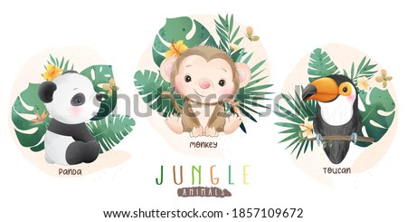 cute jungle animals with floral