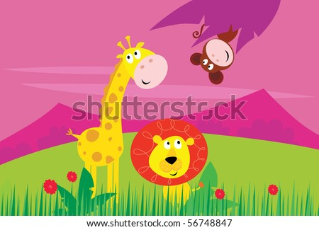 Cute jungle animals - yellow giraffe, funny tiger and little monkey behind palm leaf.