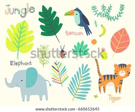cute jungle illustration clip