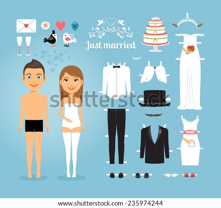 cute just married couple paper