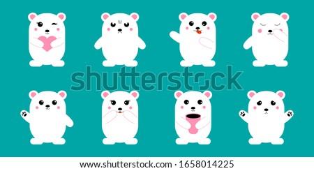 cute kawaii bear set funny