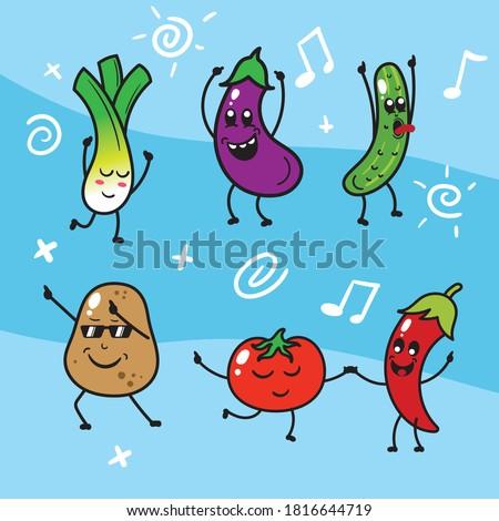 Cute kawaii cartoon happy vegetables dancing  set vector