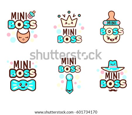 Cute Kawaii emoticons with baby objects, kids pacifier, bottle and text Mini Boss, for t-shirt print, vector style composition with lettering isolated on white