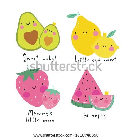 Cute kawaii fruit strawberry, avocado, lemon, watermelon mom and baby. Super cute print for kids