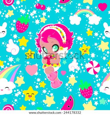 cute kawaii funny girl with a