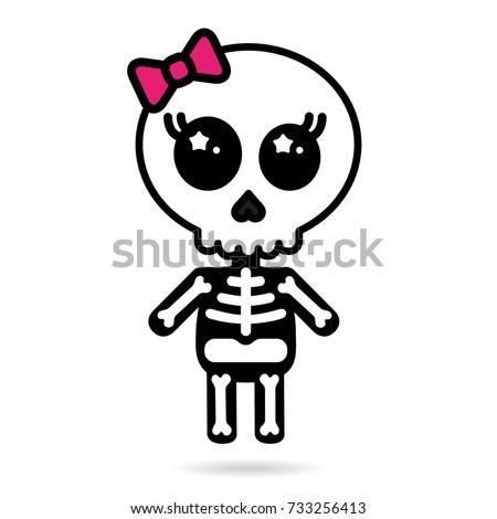 cute kawaii girl skeleton