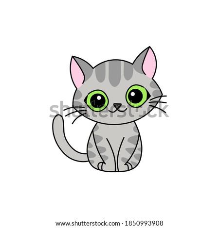 cute kawaii gray kitten mascot