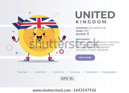 Cute Kawaii Handdrawn Coin Character Illustration Concept Of GBP Poundsterling From United Kingdom UK Currency For Business, Investment, Economy, Education, Encyclopedia. Landing Page. Vector. EPS 10.