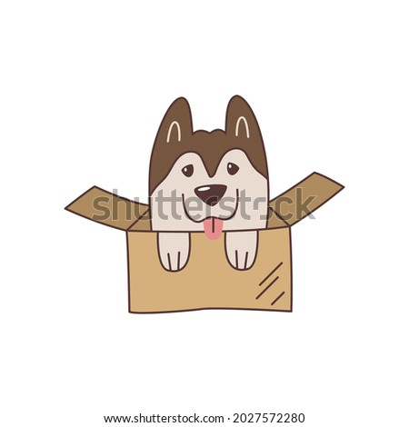 Cute kawaii husky puppy in cardboard box. Playful cartoon dog with tongue. Unusual surprise gift. Emblem, logo, label for friendly parcel delivery service or company for transporting things when move.