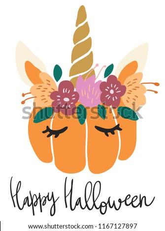 Cute kawaii little pumpkin head with unicorn decoration vector art. Flat children scandinavian hand drawn illustration. Graphic design card print. Happy Halloween lettering.