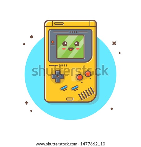 Cute Kawaii Nintendo GameBoy Console Vector Illustration. Gaming Mascot Logo. Character. Old Game Retro. Flat Cartoon Style Suitable for Web Landing Page, Banner, Flyer, Sticker, Card, Background