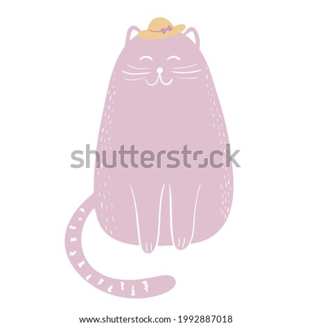 Cute kawaii pink cat wearing hat and sitting with a happy face. Doodle style vector illustration of adorable pet. Hand drawn childish kitty sketch isolated