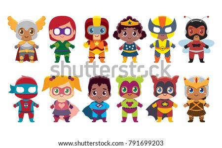 cute kawaii set superhero